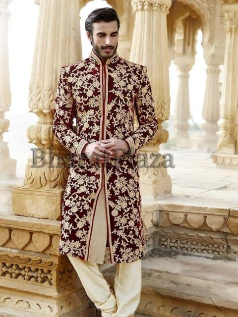 Fantasia indiana masculina vermelha e dourada