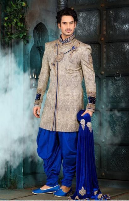 Fantasia indiana masculina azul e bege