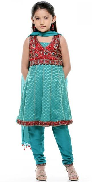 Fantasia indiana feminina infantil azul e vermelha