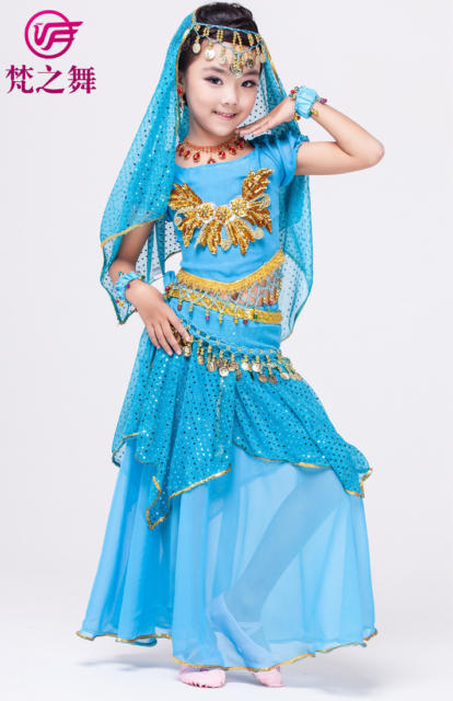 Fantasia indiana feminina infantil azul