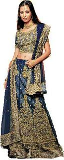 Fantasia indiana feminina azul e dourda
