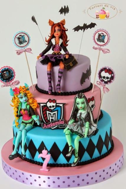 festa monster high bolo com topo de boneca