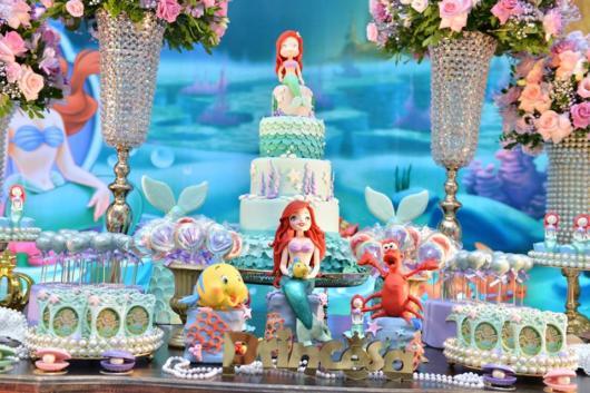 Festa Sereia: Decoração Pequena Sereia com bonecos de feltro
