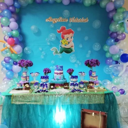 Festa Sereia: Decoração Pequena Sereia com balões