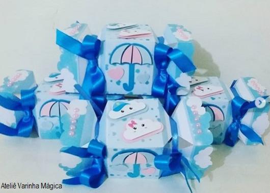 decoração azul e rosa festa chuva de amor
