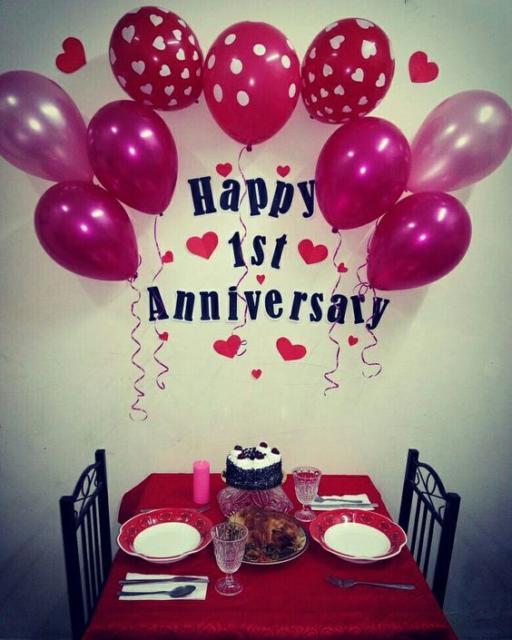 Surpresa de 1 ano de namoro: Decoração com balões para jantar