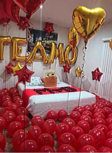 Surpresa de 1 ano de namoro: Decoração com balões para quarto