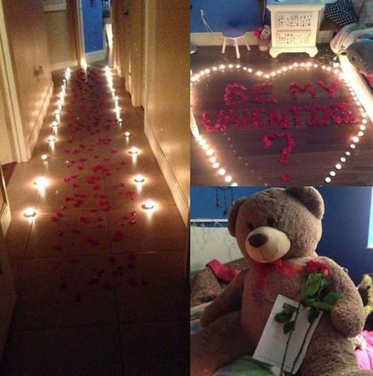 Surpresa de 1 ano de namoro: Decoração com velas