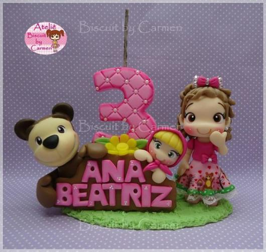Topo de bolo: Masha e o Urso