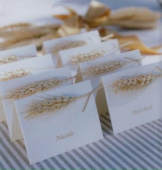 Bodas de Trigo: Convite decorado com trigo