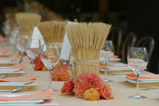 Bodas de Trigo: Decoração com centro de mesa em trigo