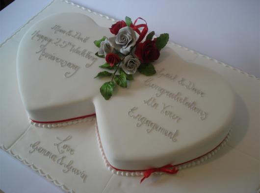 bolo de bodas de prata com frase de amor