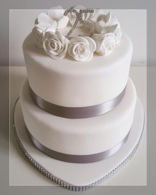 fotos de bolo de bodas de prata
