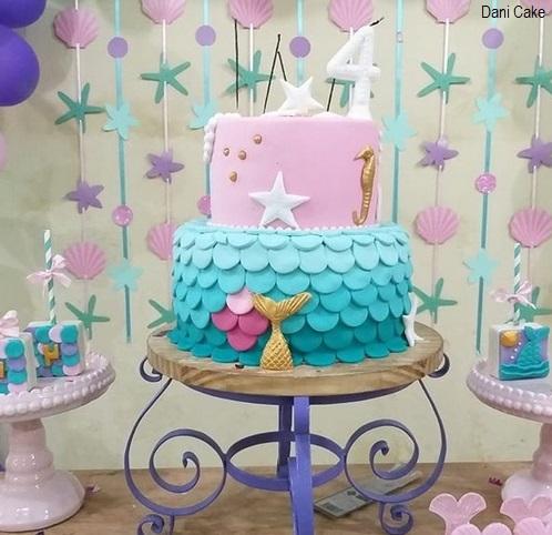 bolo azul e rosa 2 andares
