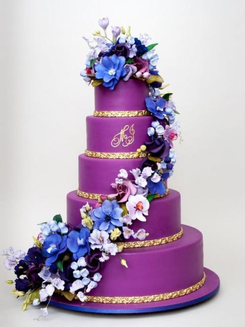 Bolos mais lindos do mundo: Bolo para aniversário roxo com flores