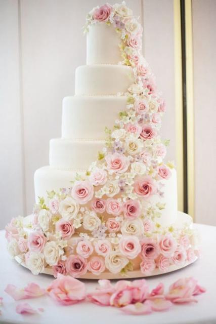 Bolos mais lindos do mundo: Bolo para casamento com flores rosas