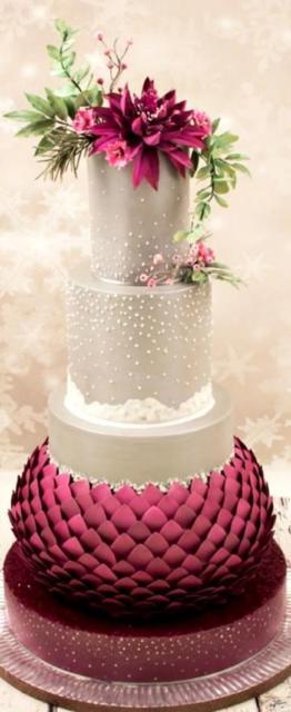 Bolos mais lindos do mundo: Bolo para casamento rosa e prata