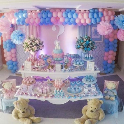 Chá Revelação: Decoração tema Ursinho com balões