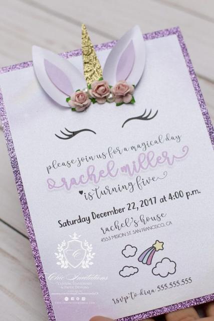 Chá de Bebê Unicórnio: Convite cartão