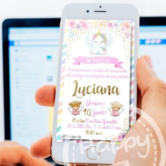 Chá de Bebê Unicórnio: Convite digital