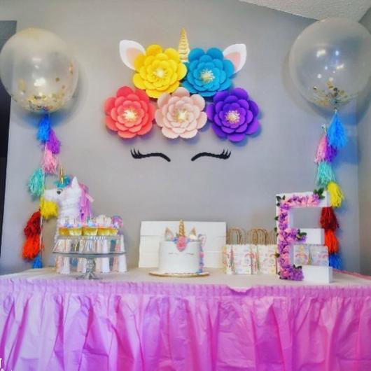 Chá de Bebê Unicórnio: Decoração com balões transparentes