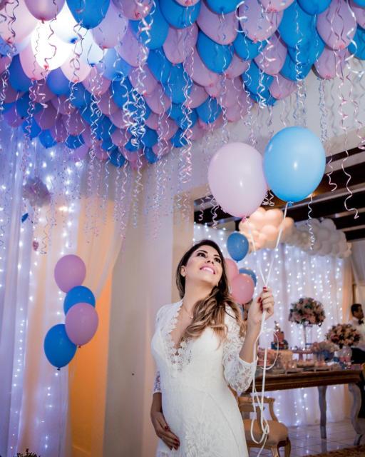 Chá Revelação: Decoração com balões
