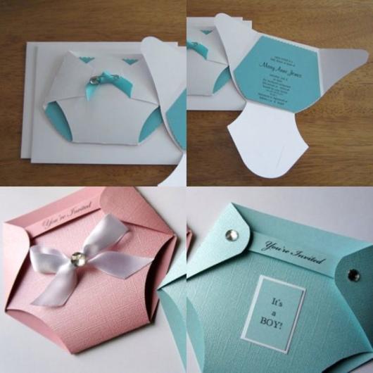 Chá Revelação: Convite com formato de fralda