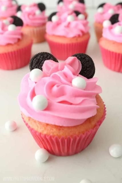 fotos de cupcake minnie rosa decorado