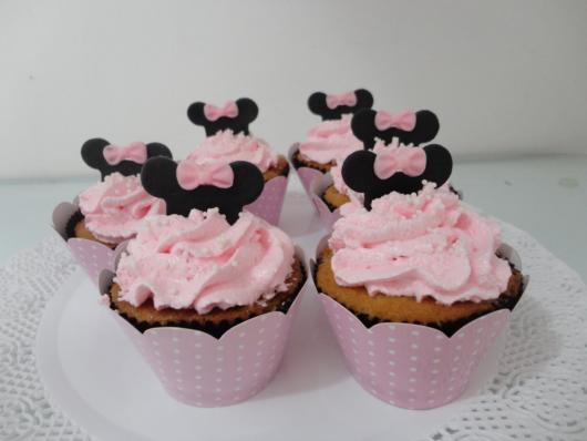 cupcake minnie rosa ganache mole