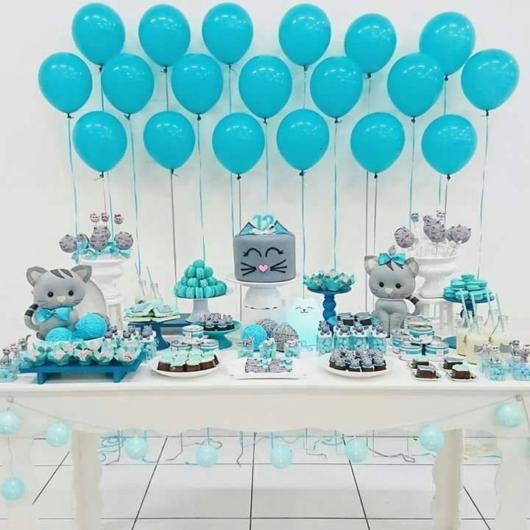 Enfeites para chá de bebê masculino: Painel de balões