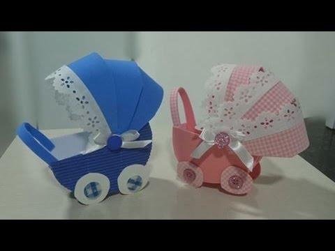 Enfeites para chá de bebê masculino: Carrinho de bebê em EVA