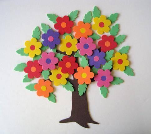 Enfeites para chá de bebê: Árvores de flores em EVA