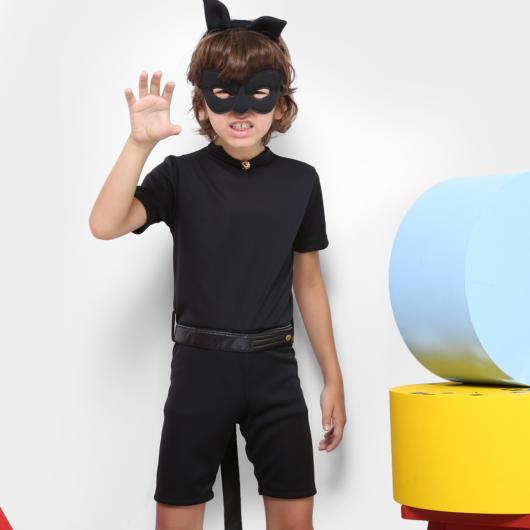 fantasia cat noir com short para meninos
