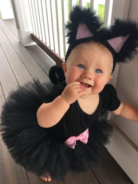 Fantasia com saia de tule infantil: Gatinha