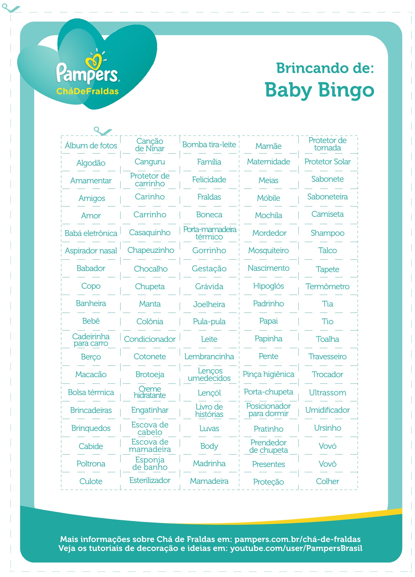 lista de palavras bingo