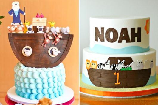 O azul e o marrom são as cores mais usadas no bolo arca de noé