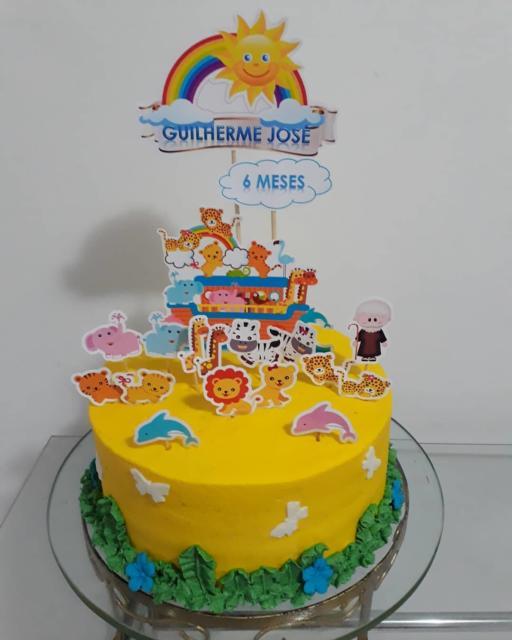 Chantilly amarelo para decorar o bolo arca de noé