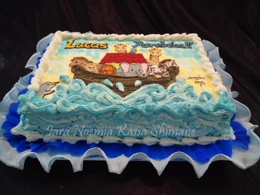 Papel de arroz para decorar bolo quadrado de arca de noé