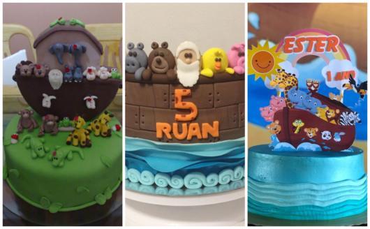 Ideias de decoração de Arca de Noé para bolos