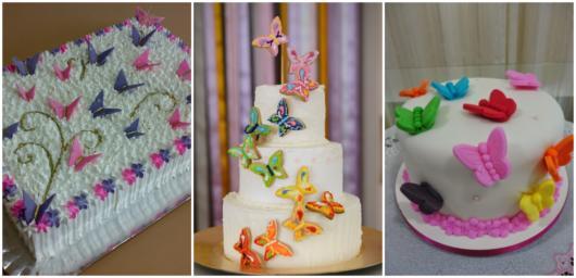 O tamanho do bolo borboleta varia de acordo com o número de convidados