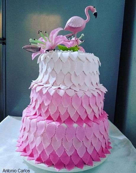 bolo rosa 3 andares