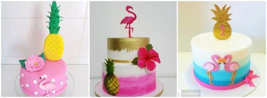 ideias para bolo abacaxi e flamingo
