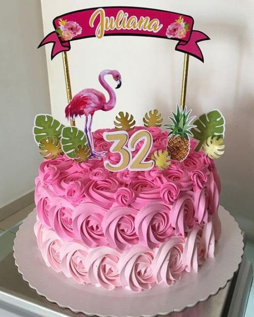 bolo degradê rosa