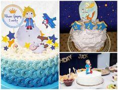 Bolo Pequeno Príncipe decorado com chantilly em tons de azul e branco