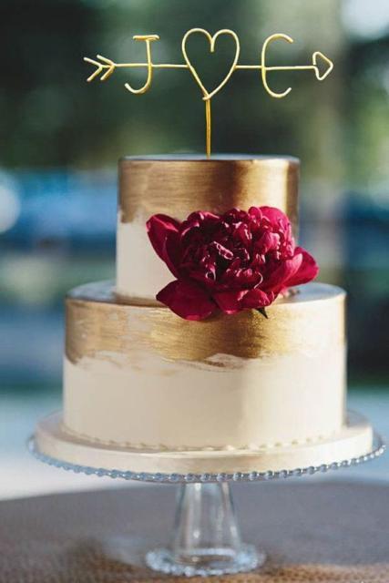 Bolo Rústico: Para casamento dourado com flores