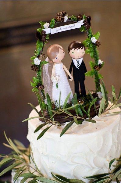 Bolo Rústico: Topo de bolo casal em biscuit