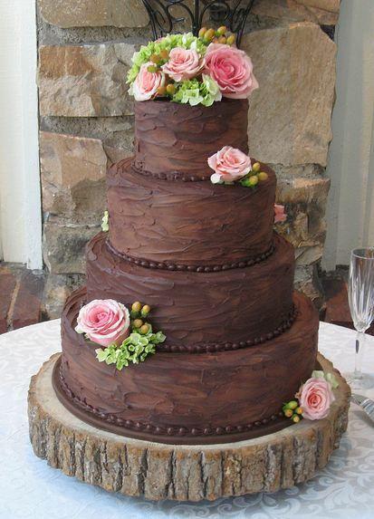 Bolo Rústico: De Chocolate com rosas