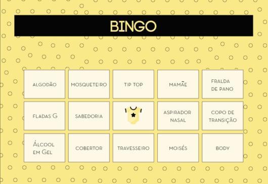 bingo de chá de bebê