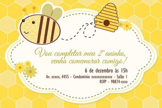 arte convite abelhinha simples