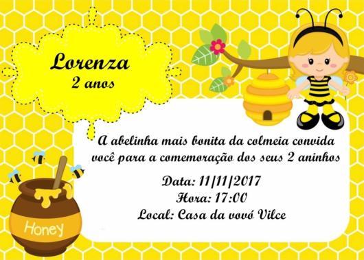 convite abelhinha digital com informações